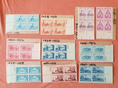 Známky - staré bloky USA, 10ks, 1952-1956, aukce od 1Kč