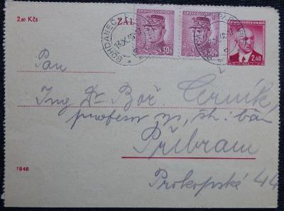 Celina/Zálepka - poštovní cesta z Bohdanče do Příbrami - 1948