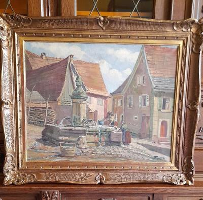 Luxusní starý obraz na plátně 85x70cm. Signovaný kolem roku 1900