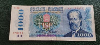 Bankovka - 1000 Kčs 1985 - Vzácná Série U 08 !!!!!!!!!