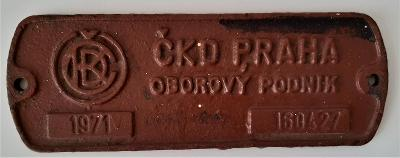 Štítek z kolejového vozidla ČKD 1971