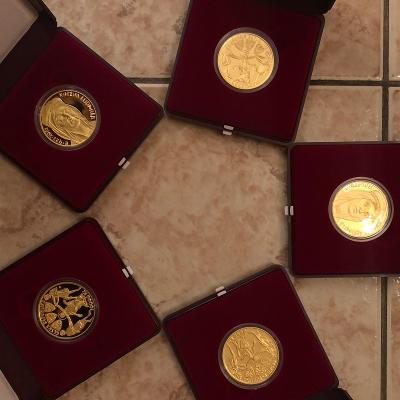 5 x zlatá mince Proof KNĚŽNA LUDMILA