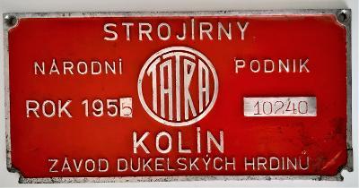 Štítek hliníkový - Strojírny Tatra Kolín