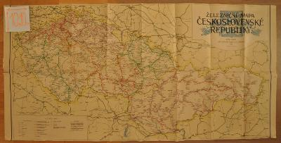ČESKOSLOVENSKÁ REPUBLIKA - VELKÁ ŽELEZNIČNÍ MAPA - 1947