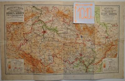 PROTEKTORÁT ČECHY A MORAVA - MAPA - 1941