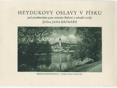 PÍSEK 1835-1935 HEYDUKOVY  OSLAVY-program dvojlist s PR