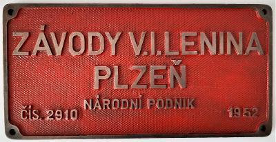 Štítek z lokomotivy - Závody V. I. Lenina Plzeň 1952
