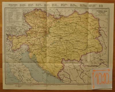 ÖSTERREICH-UNGARN -  RAKOUSKO-UHERSKO - ŽELEZNIČNÍ MAPA - 1910