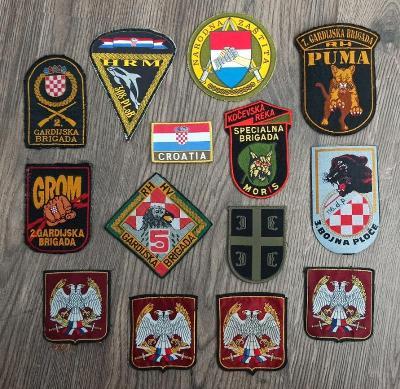 Nášivky Chorvatsko a Srbsko