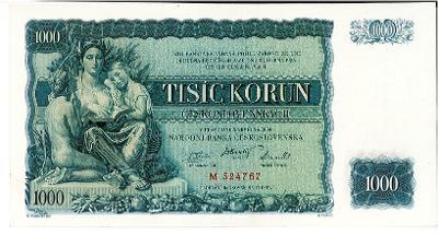 1000 Kč 1934 Neperoforvaná Série M