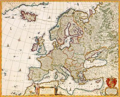 HISTORICKÁ MAPA EVROPA, FAKSIMILE 49 x 61 cm