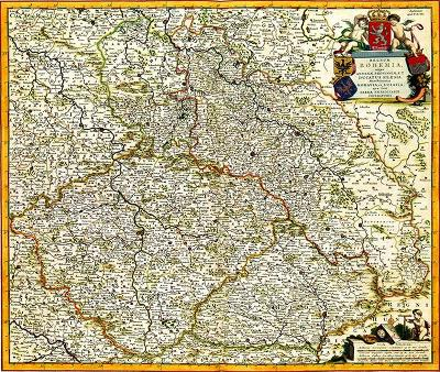 HISTORICKÁ MAPA REGNUM BOHEMIA, r.1688, FAKSIMILE NA RUČNÍM PAPÍRU