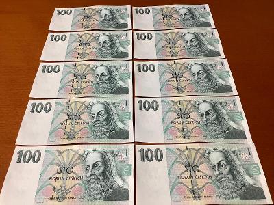 Bankovky UNC hodnota 100kč celá série jdoucí po sobě 10kusů rok 1997