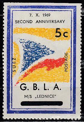 Známková země ZZ GBLA Suez Egypt blokáda 1969 čs. nálepka loď Lednice