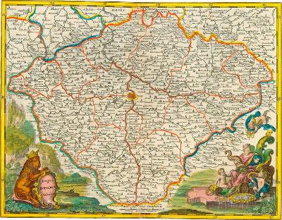 HISTORICKÁ MAPA BOHEMIA rok. 1619, FAKSIMILE NA RUČNÍM PAPÍRU