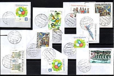 Sestava vybraných ručních razítek na známkách ČR, PSČ 7xx xx (r174)