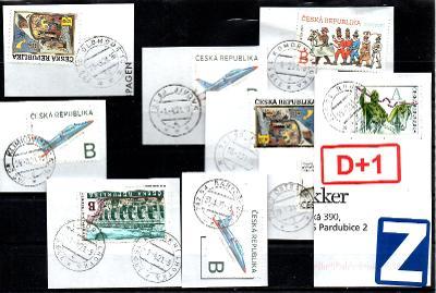 Sestava vybraných ručních razítek na známkách ČR, PSČ 7xx xx (r179)