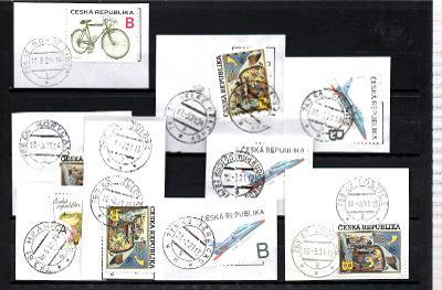 Sestava vybraných ručních razítek na známkách ČR, PSČ 7xx xx (r180)