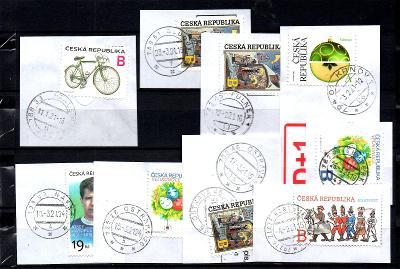 Sestava vybraných ručních razítek na známkách ČR, PSČ 7xx xx (r182)