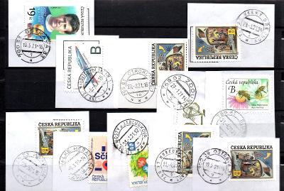 Sestava vybraných ručních razítek na známkách ČR, PSČ 7xx xx (r183)