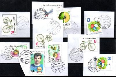 Sestava vybraných ručních razítek na známkách ČR, PSČ 7xx xx (r184)