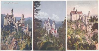 Německo, Bavorsko, Zámek Neuschwanstein (3 ks) 1909-1919