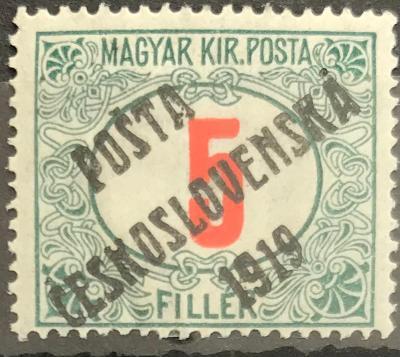 ČSRI - PČ1919 - uherské doplatní - červená čísilce - 5f -zelená