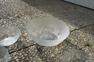 skleněná mísa a miskami dvou velikostí - tvar listy 1+5+6 ks