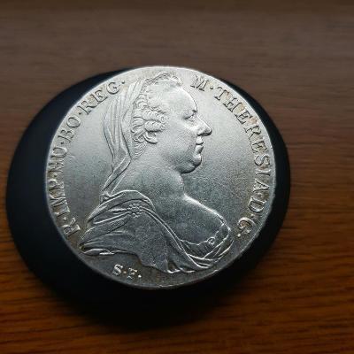 Stříbrný Tolar-1780-SF-Marie Terezie , starší ražba.