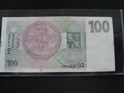 Krásná  bankovka 100 Kč 1993 serie A24.
