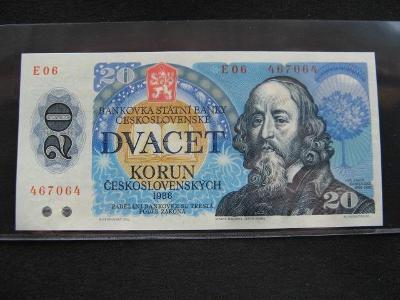 Krásná nová   bankovka 20 Kčs 1988 serie E 06,UNC stav!!!