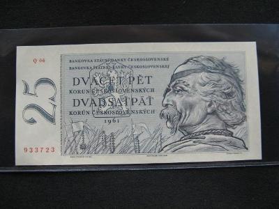 Krásná nová   bankovka 25 Kčs 1961 serie Q 06,UNC stav!!!
