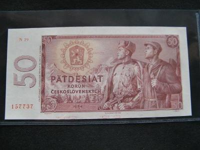 Krásná nová   bankovka 50 Kčs 1964 serie N 19,UNC stav!!!