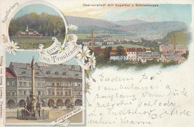 Trutnov - litografie, Stadtpark, celkový pohled, Ringplatz