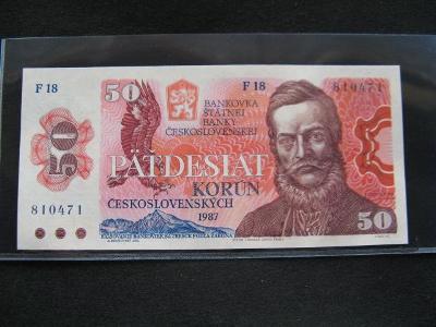 Krásná nová   bankovka 50 Kčs 1987 serie F 18,UNC stav!!!