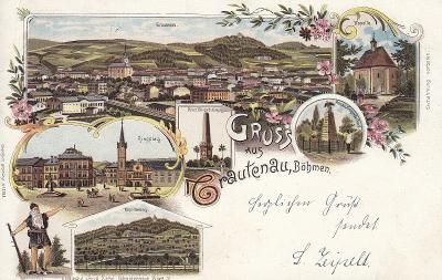 Trutnov - litografie. celkový pohled, Kapelle, Ringplatz, Kapellenberg