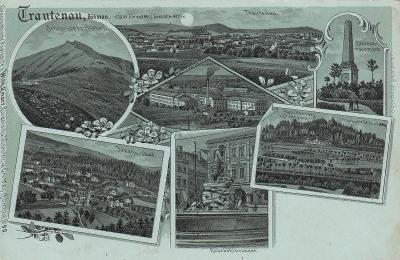 Trutnov - litografie, namodralá, Johannisbad, Spinnerei, Schneekoppe