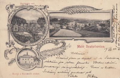 Malé Svatoňovice - okénková, kostel, sad, černobílá