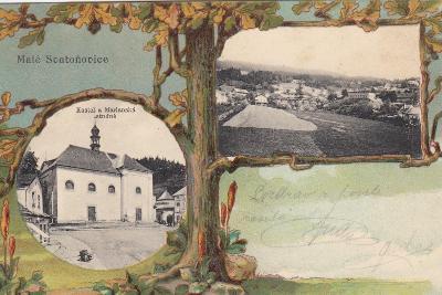 Malé Svatoňovice - okénková se stromem, kostel, celkový pohled