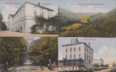 Konstantinovy Lázně - čtyřokénková, Kurhaus, Talpartie, Bahnhofstrasse