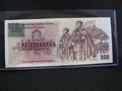Krásná nová bankovka 500 Kčs 1973, série W 16 s kolkem, UNC stav !!!