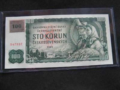 Krásná nová bankovka 100 Kčs 1961 série G 83 s kolkem, UNC stav !!!