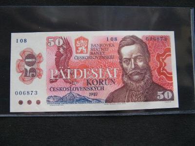 Krásná nová bankovka 50 Kčs 1987 série I 08, UNC stav !!!