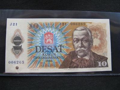 Krásná nová bankovka 10 Kčs 1986, série J 21, UNC stav !!!
