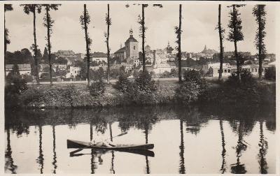 Turnov - pohled na část města, loďka