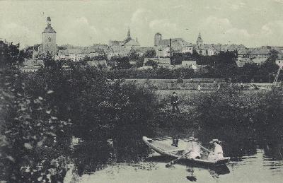 Turnov - pohled na město, loďka