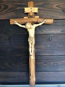 NÁDHERNÁ DŘEVOŘEZBA JEŽÍŠ NA KŘÍŽI KRÁSNÝ DŘEVĚNÝ KŘÍŽ Č.1 OD 1kČ