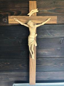 NÁDHERNÁ DŘEVOŘEZBA JEŽÍŠ NA KŘÍŽI KRÁSNÝ DŘEVĚNÝ KŘÍŽ Č.2 OD 1kČ