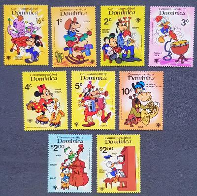 Dominica Disney dětské, 9 ks známek, krásná série