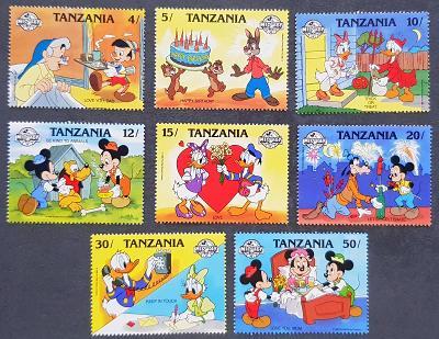 Tanzania Disney dětské, 8 ks známek, krásná série